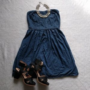 Old Navy Strapless Short Denim Bustier Dress